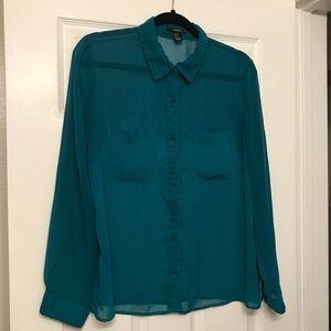 Blue-Green Ombré Sheer Button Down Shirt Medium